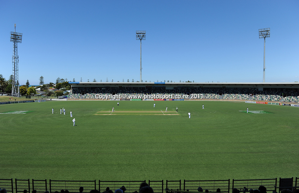 A general view on day 1 of the first cricket test, New Zealand v Zimbabwe at McLean Park. Thursday 26 January 2012. Napier, New Zealand. Photo: Andrew Cornaga/Photosport.co.nz