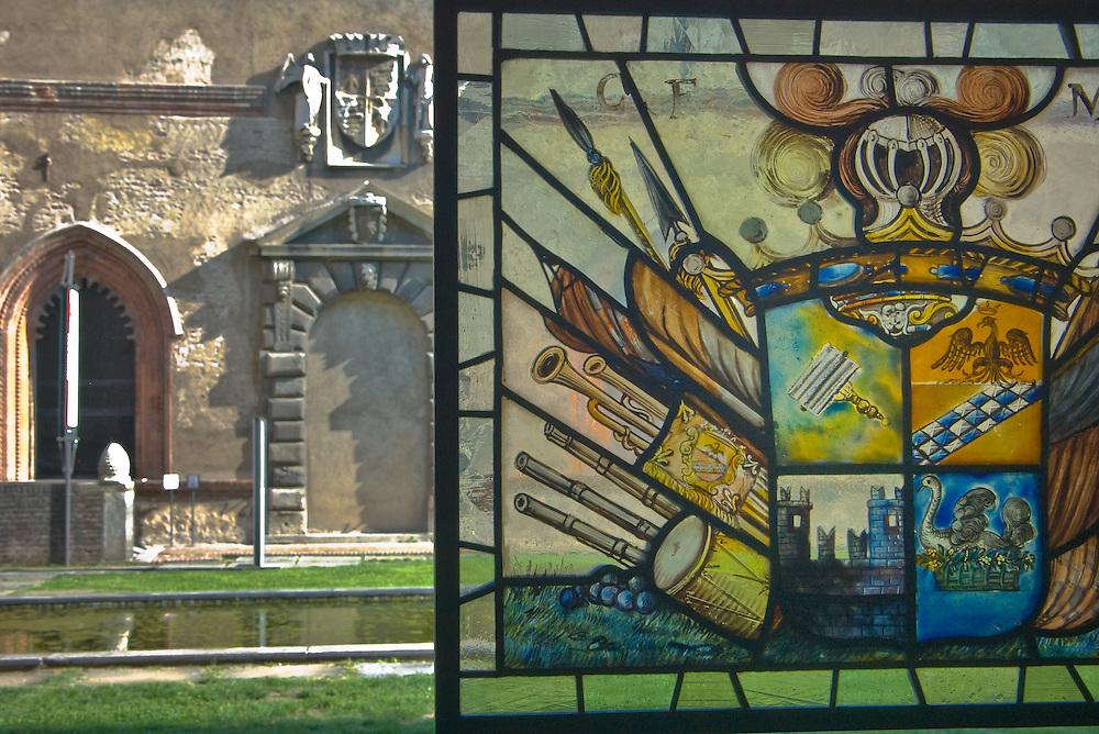 Artistic coat of arms in Milan's Castello Sforzesco, Italy