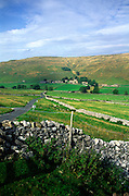 Limestone scenery and farming hamlet Halton Gill Yorkshire Dales national park England