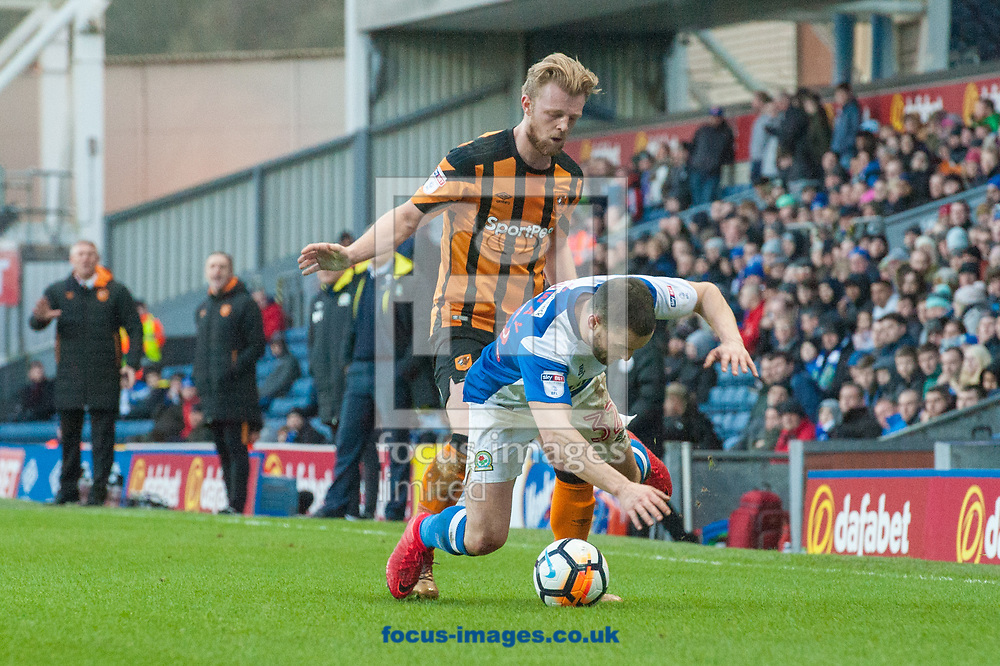 Craig Conway of Blackburn Rovers is fouled by Max Clark of Hull City during the FA Cup match at Ewood Park, Blackburn<br /> Picture by Matt Wilkinson/Focus Images Ltd 07814 960751<br /> 06/01/2018