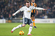 Wayne Rooney Forward of Manchester United shoots at goal during the EFL Cup semi final match 2 between Hull City and Manchester United at the KCOM Stadium, Kingston upon Hull, England on 26 January 2017. Photo by Phil Duncan.