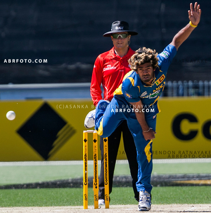 Lasith Malinga bowling during game 1 of the Commonwealth Bank Series Australia v Sri Lanka played at the Melbourne Cricket Ground in Melbourne,Victoria, Australia. Photo Asanka Brendon Ratnayake