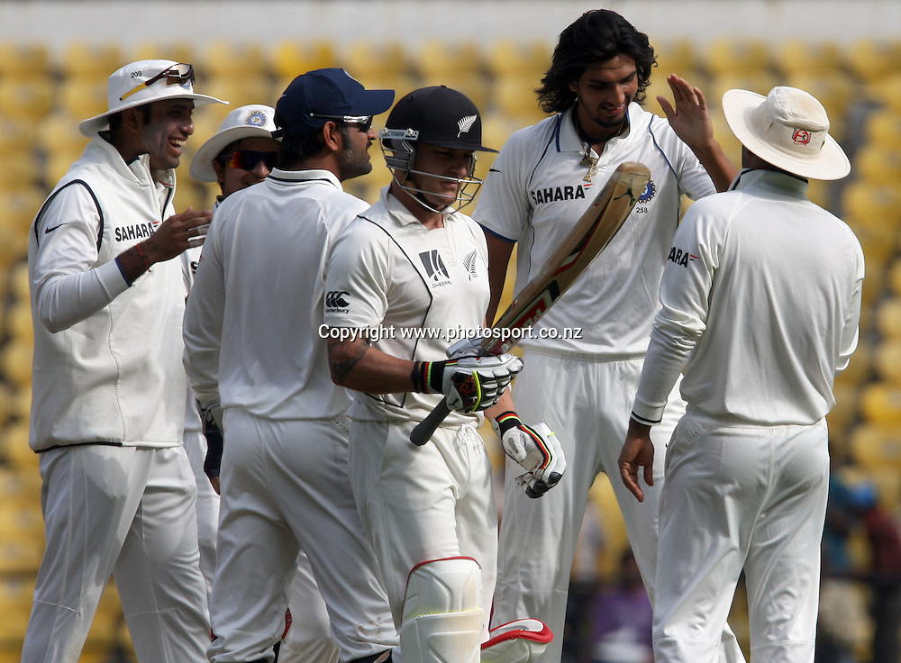 Indian bowler Ishant Sharma celebrates with team mates New Zealand batsman Brendon McCullum wicket during The India vs New Zealand 3rd test match day-2 Played at Vidarbha Cricket Association Stadium, Jamtha, Nagpur, 21, November 2010 (5-day match)
