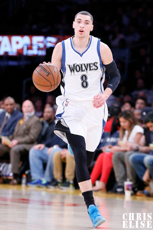 10 April 2014: Minnesota Timberwolves guard Zach LaVine (8) brings the ball up court during the Los Angeles Lakers 106-98 victory over the Minnesota Timberwolves, at the Staples Center, Los Angeles, California, USA.