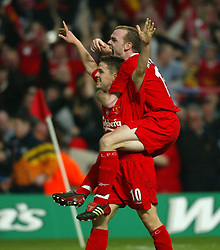 CARDIFF, WALES - Sunday, March 2, 2003: Liverpool's Michael Owen celebrates scoring the second goal against Manchester United with team-mate Danny Murphy during the Football League Cup Final at the Millennium Stadium. (Pic by David Rawcliffe/Propaganda)
