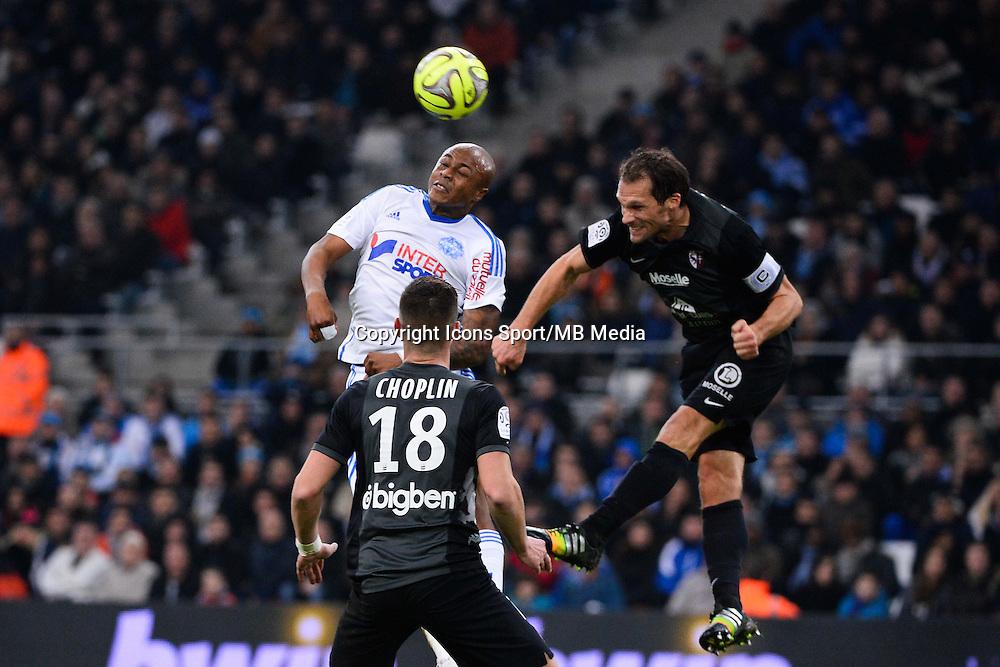 Andre AYEW / Sylvain MARCHAL - 07.12.2014 - Marseille / Metz - 17eme journee de Ligue 1 -<br />Photo : Gaston Petrelli / Icon Sport