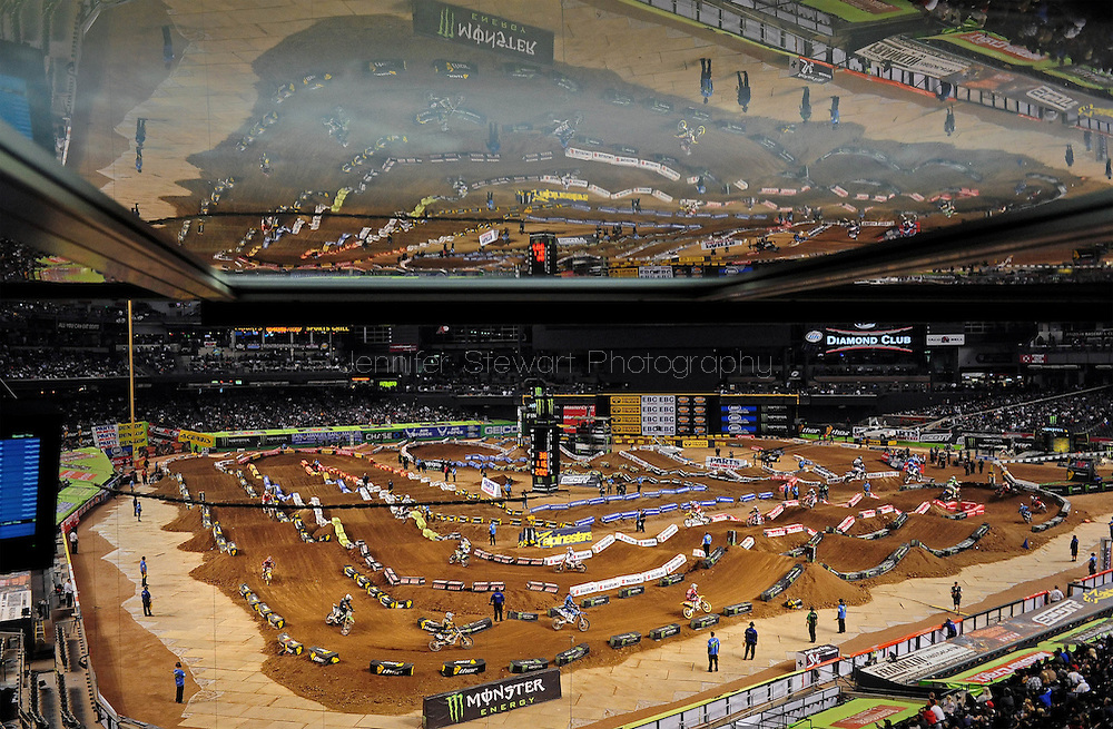 Jan. 16, 2010; Phoenix, AZ, USA; Overall view of Chase Field as Lites West Supercross riders race during the main event during the Monster Energy Supercross race at Chase Field. Mandatory Credit: Jennifer Stewart-US PRESSWIRE