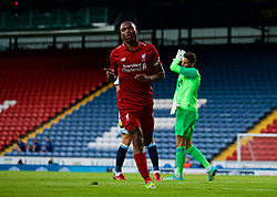 BLACKBURN, ENGLAND - Thursday, July 19, 2018: Liverpool's captain Daniel Sturridge celebrates scoring the second goal during a preseason friendly match between Blackburn Rovers FC and Liverpool FC at Ewood Park. (Pic by Paul Greenwood/Propaganda)
