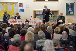 © Licensed to London News Pictures. 16/02/2017. Bristol, UK. JOHN MCDONNELL MP, Shadow Chancellor, speaks at a public meeting at Fairfield School in Bristol about the Labour Party's Plan for the Economy. Photo credit : Simon Chapman/LNP