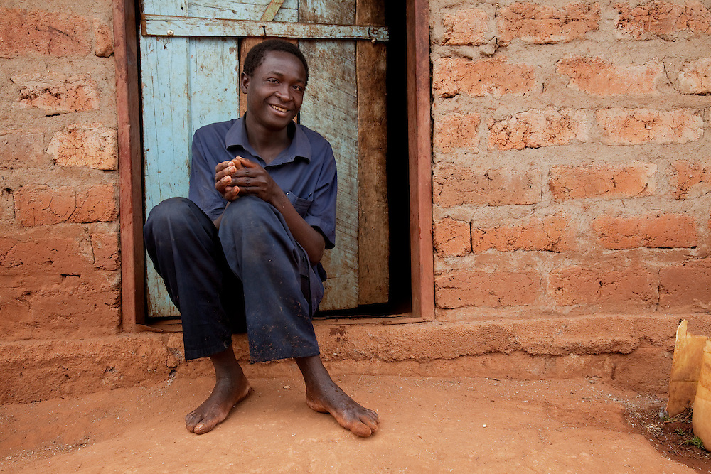Latrine builder Kenneth and his family. Hambale village, Chipembele ward, Zambia.