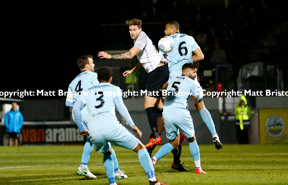 SEPTEMBER 12:  Top of the table Dover Athletic FChost eighth place Boreham Wood FC in Conference Premier at Crabble Stadium in Dover, England. The visitors, Boreham Wood  ran out winners a goal to nothing. Dover's forward Ryan Bird is swamped by Boreham Wood players. (Photo by Matt Bristow/mattbristow.net)