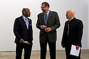 DENVER, CO - OCTOBER 17: From left, Denver Mayor Michael Hancock, Catholic Charities CEO Larry Smith  and Denver Archbishop Samuel Aquila await to announce the Samaritan House Shelter for Women on October 17, 2016, in Denver, Colorado. The homeless shelter for women will open in mid-2017. David Uebbing (L) looks on. (Photo by Anya Semenoff/Catholic Charities)