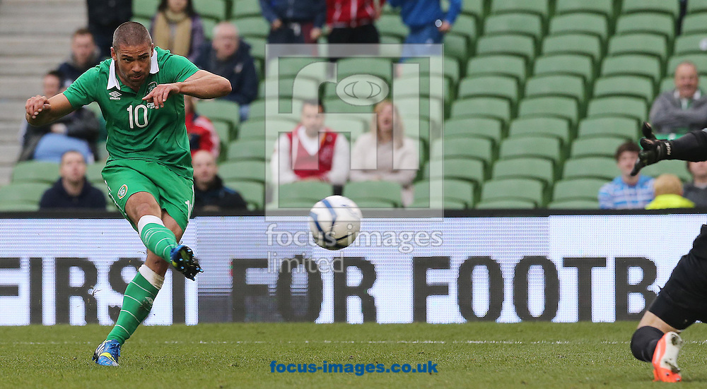 Jon Walters scores a goal for the Republic of Ireland against Turkey during the International Friendly match at the Aviva Stadium, Dublin<br /> Picture by Lorraine O'Sullivan/Focus Images Ltd +353 872341584<br /> 25/05/2014