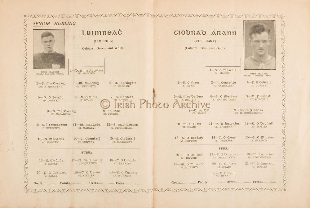 Munster Senior Hurling Championship - Final,.15071945MSHCF,.Limerick 02-06 v Tipperary 04-03, .15.07.1945, 07.15.1945, 15th July 1945..Senior Limerick, .1 D Malone, 2 Dr J McCarthy,3 M Kennedy, 4 D Cregan, 5 P O'Shea, 6 T Ryan, 7 J Power, 8 P McCarthy, 9 R Stokes, 10 S Herbert, 11 M Mackey, 12 J Fitzgerald, 13 J Mackey, 14 T Conway, 15 J Clohessy, Subs, 16 J Hayes, 17 D McCarthy, 18 T Larkin, 19 P Kelly, 20 T O'Brien, 21 P O'Grady, ..Senior Tipperary, 1 J Maher, 2 J Ryan, 3 G Cornally, 4 F Coffey, 5 J Devitt, 6 J Maher capt, 7 T Purcell, 8 T Wall, 9 LT H Gouldsboro, 10 M Ryan, 11 A Brennan, 12 T Doyle, 13 J Coffey, 14 T O'Keeffe, 15 E Gleeson, Subs J Dwyer, 17 J Delahunty, 18 M Loughane, 19 M Murphy, 20 J Ryan, 21 J Doyle, 22 T Ryan,