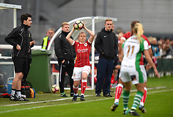 Caption Correction: Frankie Brown of Bristol City Women takes a throw-in - Mandatory by-line: Paul Knight/JMP - 30/09/2017 - FOOTBALL - Stoke Gifford Stadium - Bristol, England - Bristol City Women v Yeovil Town Ladies - FA Women's Super League 1