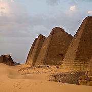 The pyramids of Meroe are the ancient burial tombs of the Meroe Kingdom.This is one of many  archeaological sites that Sudanese hope will attract tourists. Tourism is lagging in Sudan because of Western perceptions that it is an unstable country.