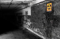 A remnant of the cold war -- the fallout shelter in an abandoned mortar battery shell gallery at Fort Casey State Park on Whidbey Island, Washington