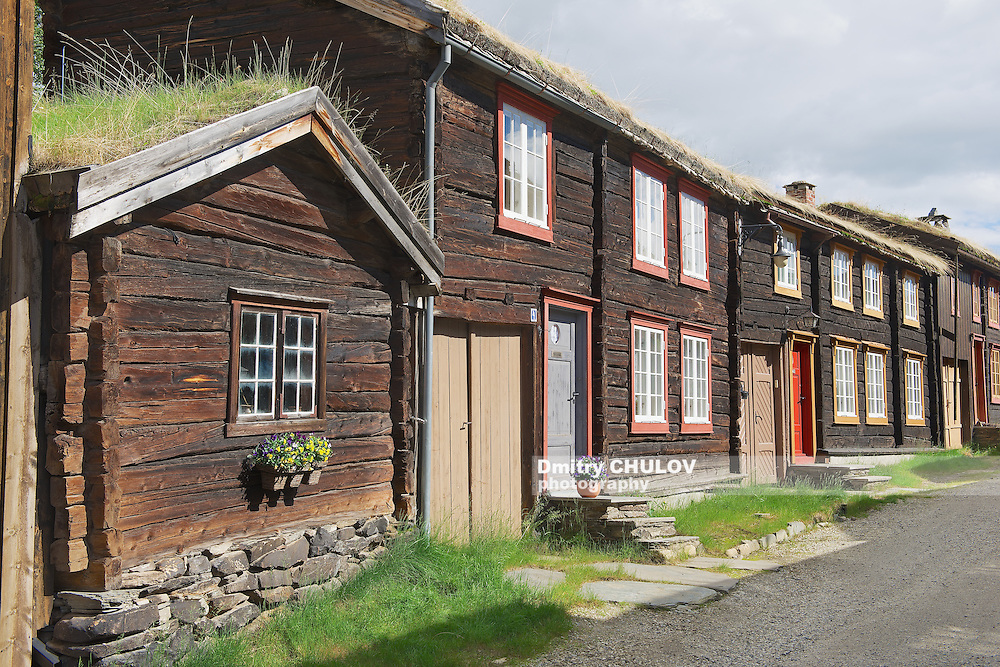 Traditional houses of the copper mines town of Roros, Norway. Roros town is declared a UNESCO World Heritage site.