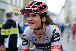 Joëlle Numainville hears the news of her teammate, Nicole Hanselmann's third place finish at Thüringen Rundfarht 2016 - Stage 7 a 131 km road race starting and finishing in Gera, Germany on 21st July 2016.
