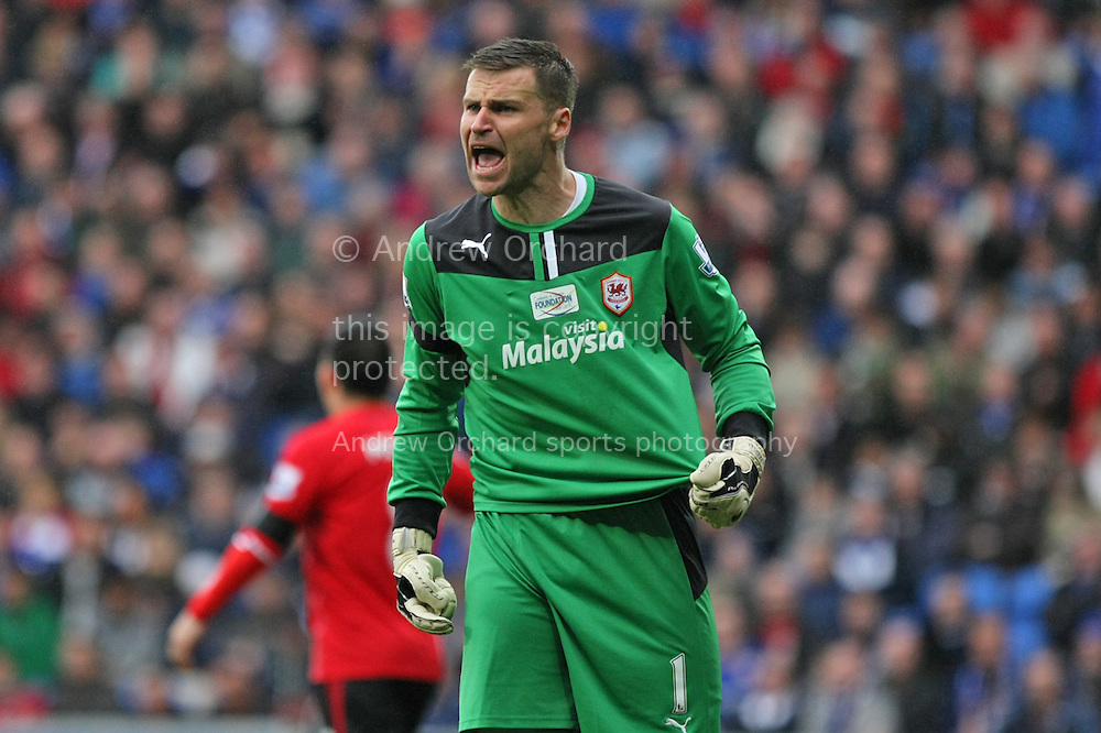 Cardiff City goalkeeper David Marshall appeals to the referee's assistant after having his shirt pulled. Barclays Premier league match, Cardiff city v Crystal Palace at the Cardiff city stadium in Cardiff, South Wales on Saturday 5th April 2014.<br /> pic by Mark Hawkins, Andrew Orchard sports photography.