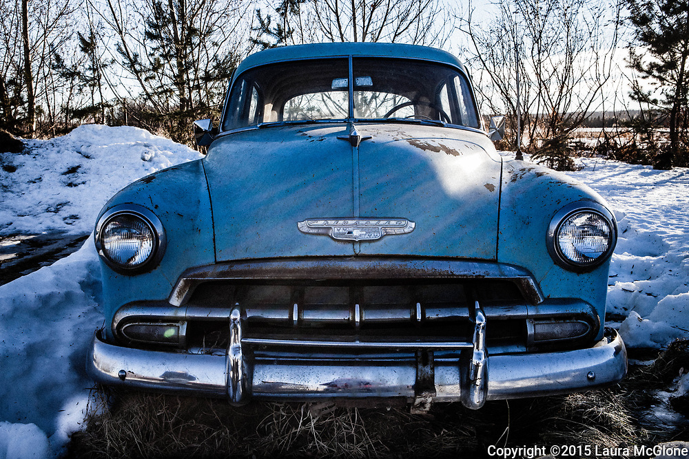 Vintage 1950s Blue Abandoned Chevrolet on Prairie, Alberta Canada