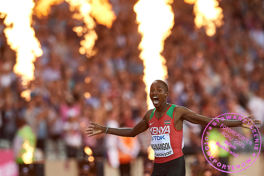 Great Britain, London - 2017 August 13: Elijah Motonei Manangoi from Kenia celebrates his victory in men's 1500 meters final during IAAF World Championships London 2017 Day 10 at London Stadium on August 13, 2017 in London, Great Britain.<br /> <br /> Mandatory credit:<br /> Photo by © Adam Nurkiewicz<br /> <br /> Adam Nurkiewicz declares that he has no rights to the image of people at the photographs of his authorship.<br /> <br /> Picture also available in RAW (NEF) or TIFF format on special request.<br /> <br /> Any editorial, commercial or promotional use requires written permission from the author of image.