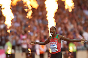 Great Britain, London - 2017 August 13: Elijah Motonei Manangoi from Kenia celebrates his victory in men&rsquo;s 1500 meters final during IAAF World Championships London 2017 Day 10 at London Stadium on August 13, 2017 in London, Great Britain.<br /> <br /> Mandatory credit:<br /> Photo by &copy; Adam Nurkiewicz<br /> <br /> Adam Nurkiewicz declares that he has no rights to the image of people at the photographs of his authorship.<br /> <br /> Picture also available in RAW (NEF) or TIFF format on special request.<br /> <br /> Any editorial, commercial or promotional use requires written permission from the author of image.