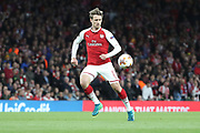 Arsenal defender Nacho Monreal (18) dribbling during the Europa League semi final first leg match between Arsenal and Atletico Madrid at the Emirates Stadium, London, England on 26 April 2018. Picture by Matthew Redman.