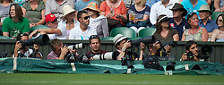 LONDON, ENGLAND - Wednesday, June 30, 2010: Photographers on Centre Court on day nine of the Wimbledon Lawn Tennis Championships at the All England Lawn Tennis and Croquet Club. (Pic by David Rawcliffe/Propaganda)