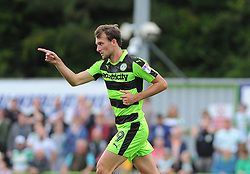 Christian Doidge of Forest Green Rovers celebrates his goal- Mandatory by-line: Nizaam Jones/JMP - 19/08/2017 - FOOTBALL - New Lawn Stadium - Nailsworth, England - Forest Green Rovers v Yeovil Town - Sky Bet League Two