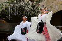 Dancers perform Mexican folk dance in the   historic center   of Guadalajara Mexico.