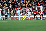 Sunderland forward Lewis Grabban (11) takes a penalty and scores by sending Brentford Goalkeeper Daniel Bentley (1) the wrong way (score 1-3) during the EFL Sky Bet Championship match between Brentford and Sunderland at Griffin Park, London, England on 21 October 2017. Photo by Andy Walter.
