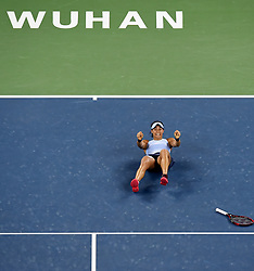 WUHAN, Sept. 30, 2017 Caroline Garcia of France celebrates after winning the singles final match against Ashleigh Barty of Australia at 2017 WTA Wuhan Open in Wuhan, capital of central China's Hubei Province, on Sept. 30, 2017. Caroline Garcia won 2-1. wdz) (Credit Image: © Ou Dongqu/Xinhua via ZUMA Wire)