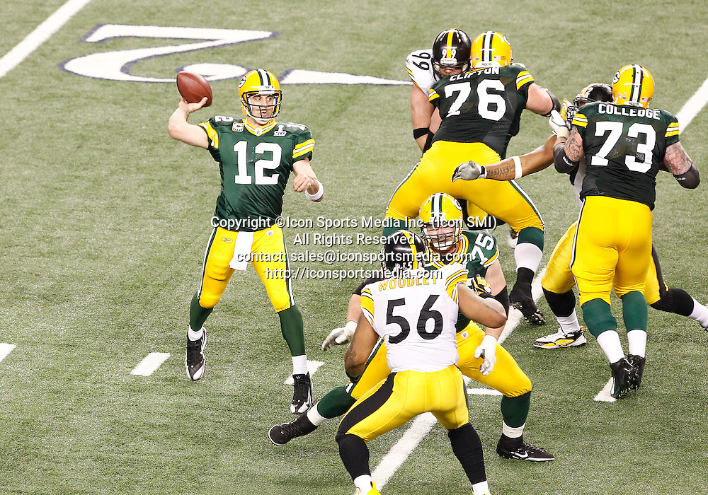 February 6, 2011: Green Bay Packers QB Aaron Rodgers #12 throws for a touchdown  during the fourth quarter of the Pittsburgh Steelers game versus the Green Bay Packers in Super Bowl XLV at Cowboys Stadium in Arlington, Texas.***FOR EDITORIAL USE ONLY****