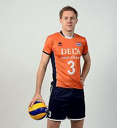 13-05-2014 NED: Selectie Nederlands volleybal team mannen, Arnhem<br /> Op Papendal werd het Nederlands team volleybal seizoen 2014-2015 gepresenteerd / Daan van Haarlem