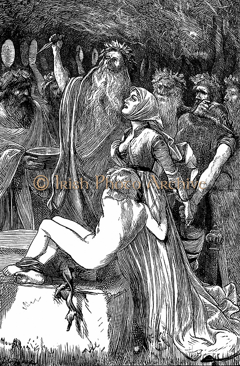 The Victim' Illustration by AB Houghton for Tennyson's poem 1868. Arch-Druid about to sacrifice King's son to save people from plague. At last moment Queen takes the blow and becomes the sacrifice.  Wood engraving.