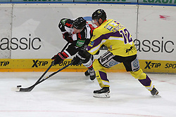25.11.2014, Lanxess-Arena, Köln, GER, DEL, Koelner Haie vs Krefeld Pinguine, 25. Runde, im Bild Andreas Falk (Koeln) im Zweikampf mit Adam Courchaine (Krefeld) // during Germans DEL Icehockey League 25th round match between Koelner Haie and Krefeld Pinguine at the Lanxess-Arena in Köln, Germany on 2014/11/25. EXPA Pictures © 2014, PhotoCredit: EXPA/ Eibner-Pressefoto/ Weiss<br /> <br /> *****ATTENTION - OUT of GER*****