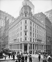 Dec. 10, 2015 - Street Scene and J.P. Morgan & Co. Office Building, New York City, USA, circa 1905 (Credit Image: © Glasshouse via ZUMA Wire)