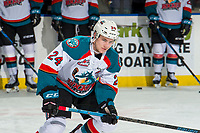 KELOWNA, CANADA - JANUARY 9:  Kyle Topping #24 of the Kelowna Rockets warms up against the Everett Silvertips on January 9, 2019 at Prospera Place in Kelowna, British Columbia, Canada.  (Photo by Marissa Baecker/Shoot the Breeze)