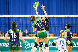 Justyna Lukasik of PGE Atom Trefl Sopot and Tina Grudina of Calcit Ljubljana during the volleyball match between Calcit Ljubljana and PGE Atom Trefl Sopot at 2016 CEV Volleyball Champions League, Women, League Round in Pool B, 1st Leg, on October 29, 2016, in Hala Tivoli, Ljubljana, Slovenia.  (Photo by Matic Klansek Velej / Sportida)