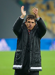 KIEV, UKRAINE - Easter Monday, March 28, 2016: Wales' manager Chris Coleman applauds the travelling supporters after the 1-0 defeat to Ukraine during the International Friendly match at the NSK Olimpiyskyi Stadium. (Pic by David Rawcliffe/Propaganda)
