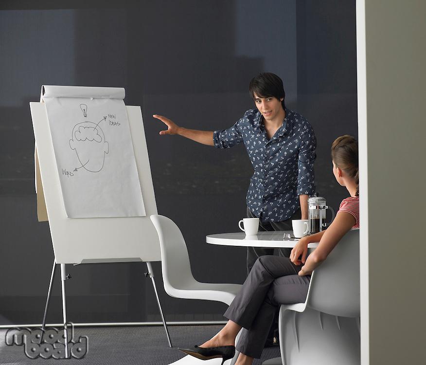 Business man giving presentation on flipchart