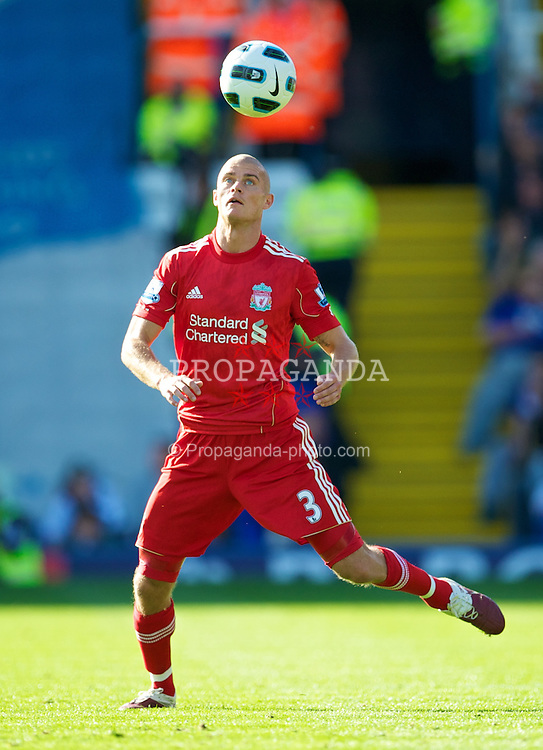 BIRMINGHAM, ENGLAND - Sunday, September 12, 2010: Liverpool's new signing Paul Konchesky in action against Birmingham City on his debut during the Premiership match at St Andrews. (Photo by David Rawcliffe/Propaganda)