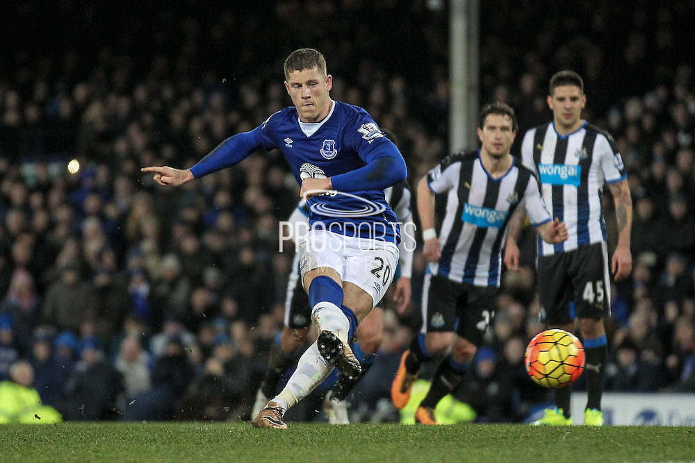 Ross Barkley (Everton) strikes the penalty home for Everton's second of the game during the Barclays Premier League match between Everton and Newcastle United at Goodison Park, Liverpool, England on 3 February 2016. Photo by Mark P Doherty.