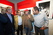 "Vienna. Opening of the Exhibition ""Jochen Rindt - Formula 1's first Pop Star"" at Galerie Westlicht. From l.: former Formula 1 drivers Dr. Helmut Marko, Jacky Ickx, Niki Lauda, Gerhard Berger"