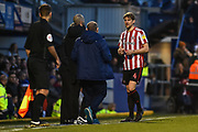 Sunderland Defender, Glenn Loovens (4) shown a red card during the EFL Sky Bet League 1 match between Portsmouth and Sunderland at Fratton Park, Portsmouth, England on 22 December 2018.
