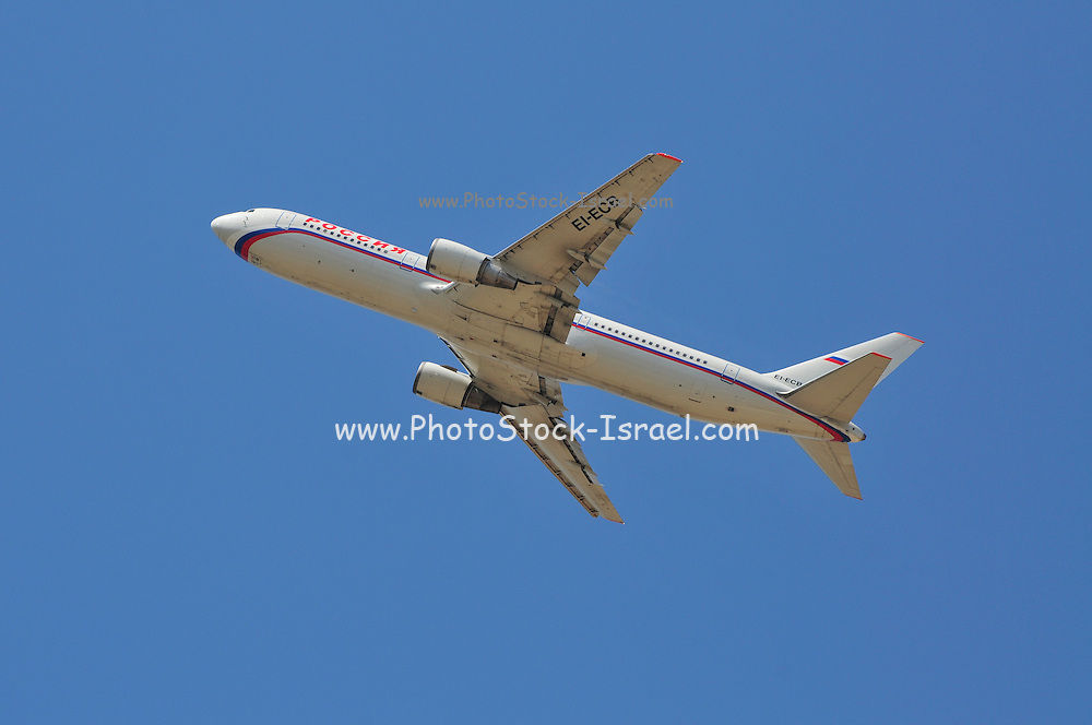 Israel, Ben-Gurion international Airport passenger jet at takeoff