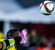 Ecuador's forward Miler Boanos eyes on a ball while trying to flight for the ball against Mexico's defender Hugo Ayala during the first half of their soccer friendly match, March 28, 2015, at Los Angeles Memorial Coliseum in Los Angeles, Calif.