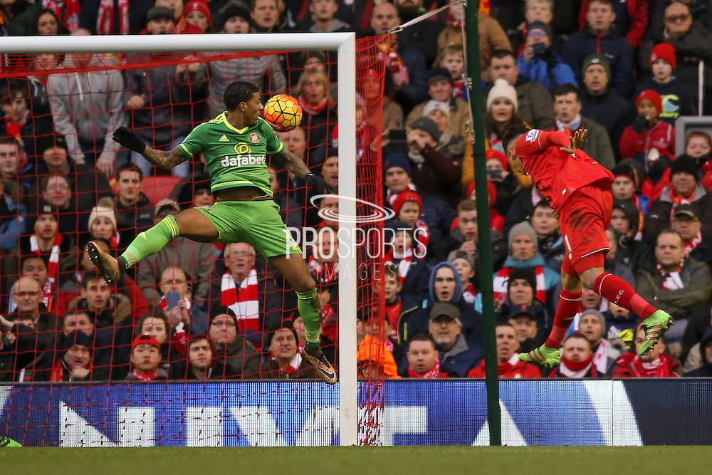 Liverpool midfielder Roberto Firmino  scores during the Barclays Premier League match between Liverpool and Sunderland at Anfield, Liverpool, England on 6 February 2016. Photo by Simon Davies.