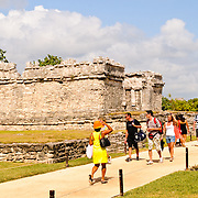 The ruins of the Maya civilization city at Tulum, on the coast of Mexico's Yucatan Peninsula. It was once known as Zama (dawn) because, being on the far eastern edge of Mexico, it was one of the first places in the country to see the dawn. Tulum was a commercial port that traded extensively throughout Central America and Central Mexico. It is now a popular tourist destination, in party because it sits on beautiful Caribbean beaches.